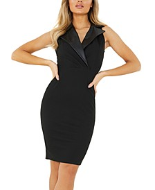 Faux-Leather-Lapel Bodycon Dress