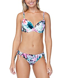 Juniors' Eco Capsule Haute Bloom Printed Moonshadow Underwire Bikini Top & Side-Tie Bikini Bottoms