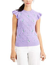 Petite Ruffled-Shoulder Sweater, Created for Macy's