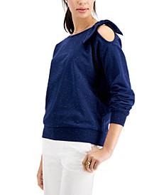 Petite Cold-Shoulder Tie-Detail Sweatshirt, Created for Macy's