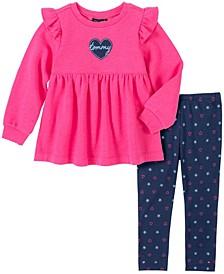 Little Girls 2 Piece Knit Tunic and Leggings Set