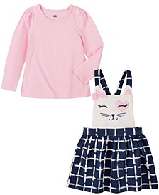 Toddler and Little Girls Two Piece Jumper Set with A Long Sleeve Top