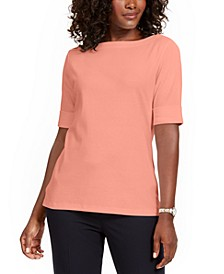 Plus Size Cotton Elbow-Sleeve Top, Created for Macy's