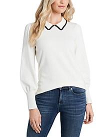 Puff-Sleeve Collared Sweater