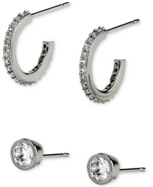 2-Pc. Set Cubic Zirconia C-Hoop & Stud Earrings