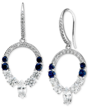Silver-Plated Cubic Zirconia & Synthetic Gemstone Open Drop Earrings