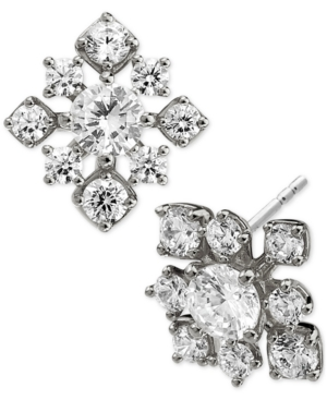 Silver-Plated Cubic Zirconia Cluster Square Stud Earrings
