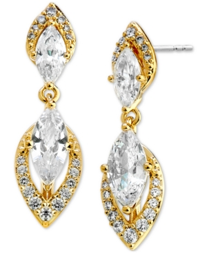 Pave & Marquise-Cut Cubic Zirconia Drop Earrings