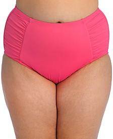 Plus Size Side-Shirred High-Waist Bikini Bottoms