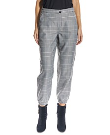 High-Rise Pull-On Plaid Ankle Joggers