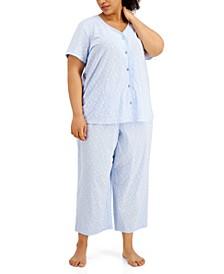 Plus Size Cotton Capri Pajama Set, Created for Macy's