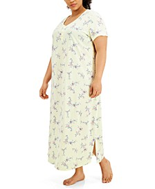 Plus Size Printed Cotton Short Sleeve Nightgown, Created for Macy's
