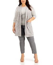 Plus Size Sleeveless Notched-Collar Vest, Created for Macy's