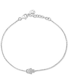 EFFY® Diamond Hamsa Hand Link Bracelet (1/10 ct. t.w.) in Sterling Silver