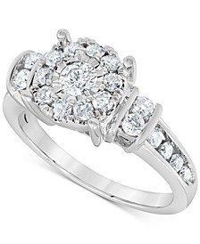 Diamond Halo Cluster Ring (1 ct. t.w.) in 10k White Gold