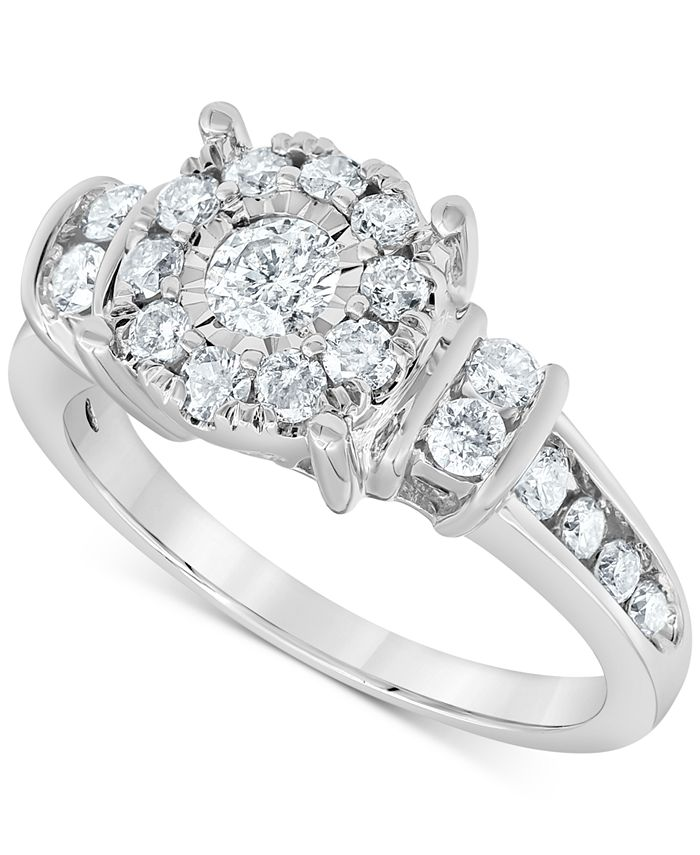 Macy's - Diamond Halo Cluster Ring (1 ct. t.w.) in 10k White Gold