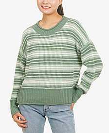 Juniors' Striped Crewneck Sweater