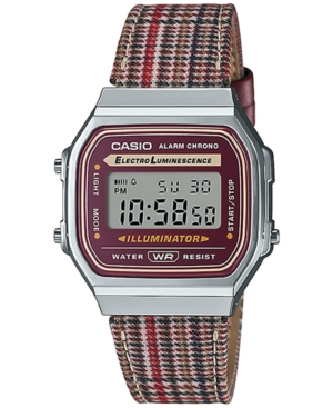 Unisex Digital Houndstooth Leather Strap Watch 36.3mm