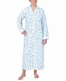 Plus Size Quilted Printed Long Zipper Robe