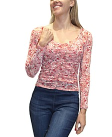 Juniors' Printed Ruched Illusion-Sleeve Top