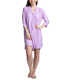 Printed Notch Collar Sleepshirt Nightgown