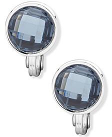 Silver-Tone Blue Button Clip-On Earrings