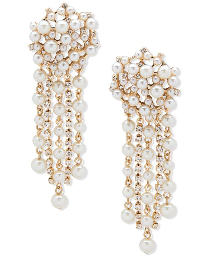 Anne Klein - Gold-Tone Imitation Pearl Tassel Linear Earrings