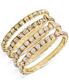 INC Gold-Tone 4-Pc. Set Crystal, Stone & Imitation Pearl Stretch Bracelets, Created for Macy's
