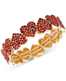 INC Gold-Tone Colored Pavé Heart Stretch Bracelet, Created for Macy's