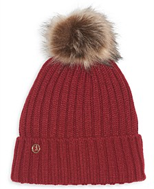 Fleece-Lined Knit Pom Pom Hat