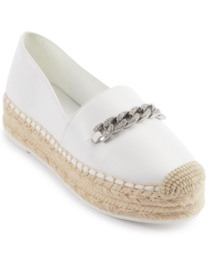 Karl Lagerfeld Women's Moxy Espadrille Flats Women's Shoes In White Leather
