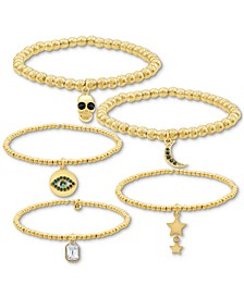 Gold-Tone 5-Pc. Set Charm Stretch Bracelets
