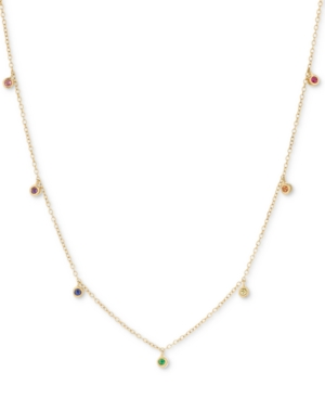 Lab-Created Multi-Gemstone Mini Dangle Statement Necklace (1/6 ct. t.w.) in 18k Gold-Plated Sterling Silver