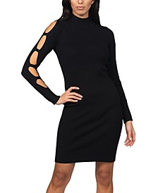 Caged-Sleeve Ribbed Sweater Dress