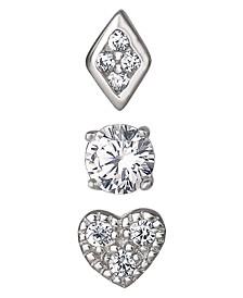 Cubic Zirconia 3-Piece Singlets Earrings Set