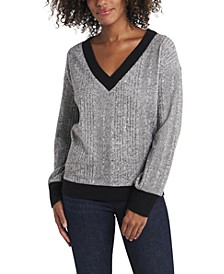 Women's Long Sleeve Brushed Rib V-Neck Top