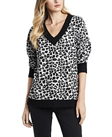Women's Leopard Jacquard Long Sleeve Top