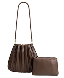 Carrie Pleated Vegan Leather Shoulder Bag