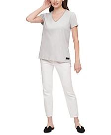 Embellished V-Neck Cotton T-Shirt