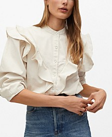 Women's Ruffled Cotton Shirt