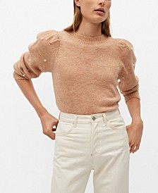 Women's Pearl Embroidery Applique Sweater
