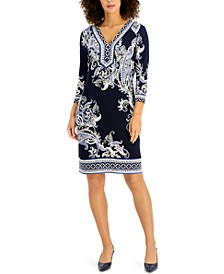 Petite Printed Sheath Dress, Created for Macy's