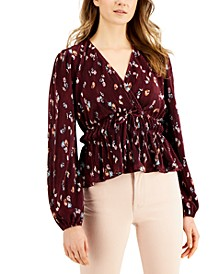 Juniors' Pleated Balloon-Sleeved Top