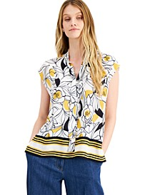 Floral-Print Cap-Sleeve Tie-Neck Top, Created for Macy's