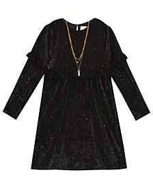 Big  Girl Stretch Velvet Dress With Ruffle Sleeve Detail
