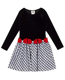 Little  Girl Plaid Drop Waist Dress With Red Bow Details