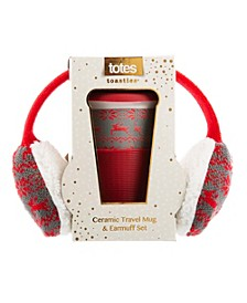 Totes Women's Travel Mug and Fair Isle Ear Muff Gift Set