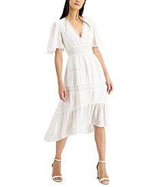 INC Flutter-Sleeve High-Low Midi Dress, Created for Macy's