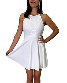Juniors' Sequin-Bodice Fit & Flare Dress