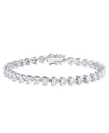 Cubic Zirconia Heart Link Bracelet in Fine Silver Plate